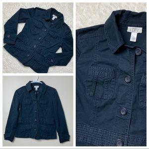 Jackets & Blazers - Loft Cargo Utility Button Jacket Navy Blue 4